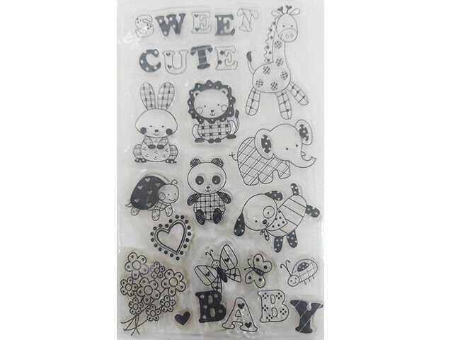 Sweet Baby Animals and Flowers Clear Stamp Set