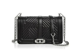 NWT Rebecca Minkoff Geo Love Quilted Leather Crossbody Shoulder Bag BLAC... - $199.90