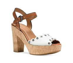 COACH ~Size 9~ Leather Grommet-Trim Cork Platform Sandals Shoes NEW! Retail $195 - $129.99