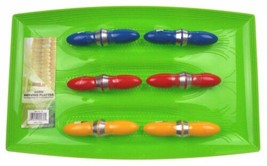 Corn Serving Platter 6 Sets Skewers 7 Pc Set Green Red Blue Hutzler Bradshaw - $4.99
