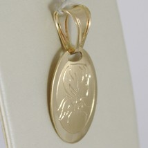 SOLID 18K YELLOW GOLD PENDANT OVAL MEDAL, SATIN GUARDIAN ANGEL, MADE IN ITALY image 2