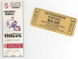 CINCINNATI BENGALS @ HOUSTON OILERS 10/24/93 Ticket Stub + Parking! Warr... - $7.56
