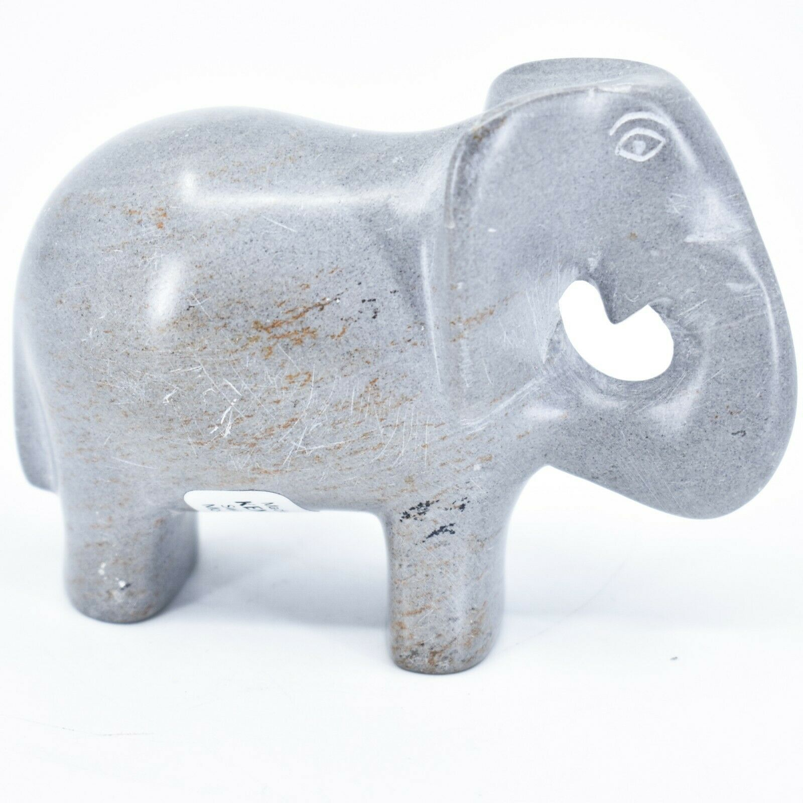Crafts Caravan Hand Carved Natural Dove Gray Soapstone Elephant Figure