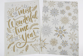 Most Wonderful Time of The Year Dish Towel Set of 2 Winter Sparkle Snowf... - $19.79