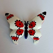 Vintage1950s Butterfly Brooch Red Cream Black or dark Navy Enamel On Celluloid - $23.38