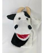 "Russ Cow Bull Puppet Plush 10"" Black White Stuffed Animal Toy - $17.95"