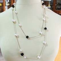 SILVER 925 NECKLACE PINK, ONYX BLACK, PEARLS, LONG 130 CM, CHAIN ROLO', 2 TURNS image 2