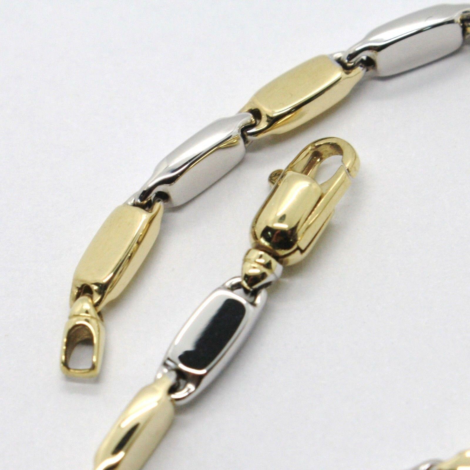 Pulsera Oro Amarillo Blanco 18CT 750 , Pequeño Tubos Platos Óvalos Alternandos