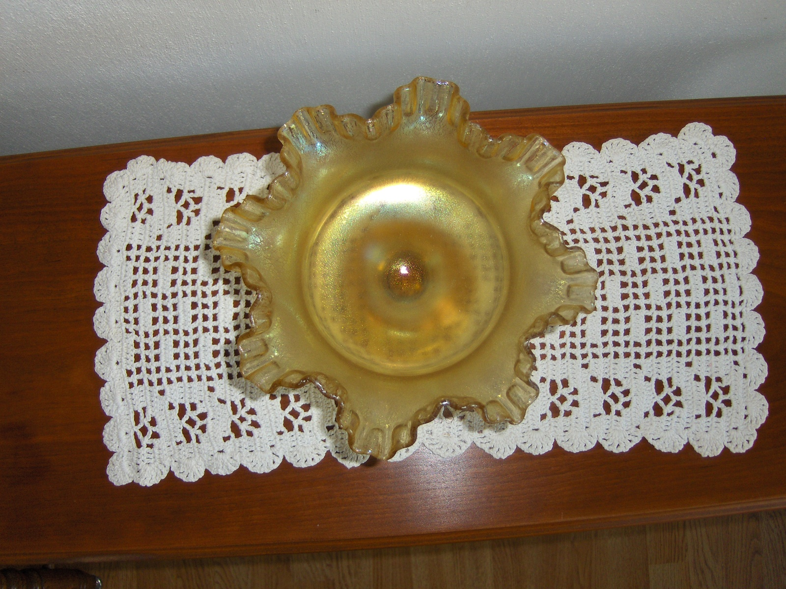 Fenton Ruffled Edge Pedestal Candy Dish Bowl Marigold Carnival Glass Frosted