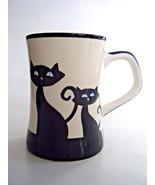 Hues N Brews Coffee Mug Black Cat & Paw Prints Design - $12.82