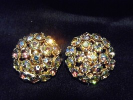 Vintage Pair Clip Earrings Carnival Glass Tone Gems Costume Fashion Jewelry - $10.66