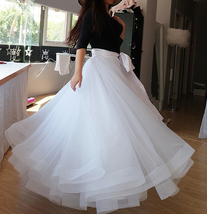 Slit Tulle Skirt Bridal Over Skirt White Layered Slit Open Skirt Wedding Outfits image 2