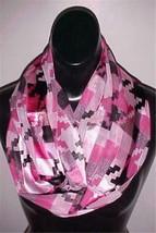 Pink Check Print Infinity Circle Poly Satin Scarf  #023 NEW - $9.49