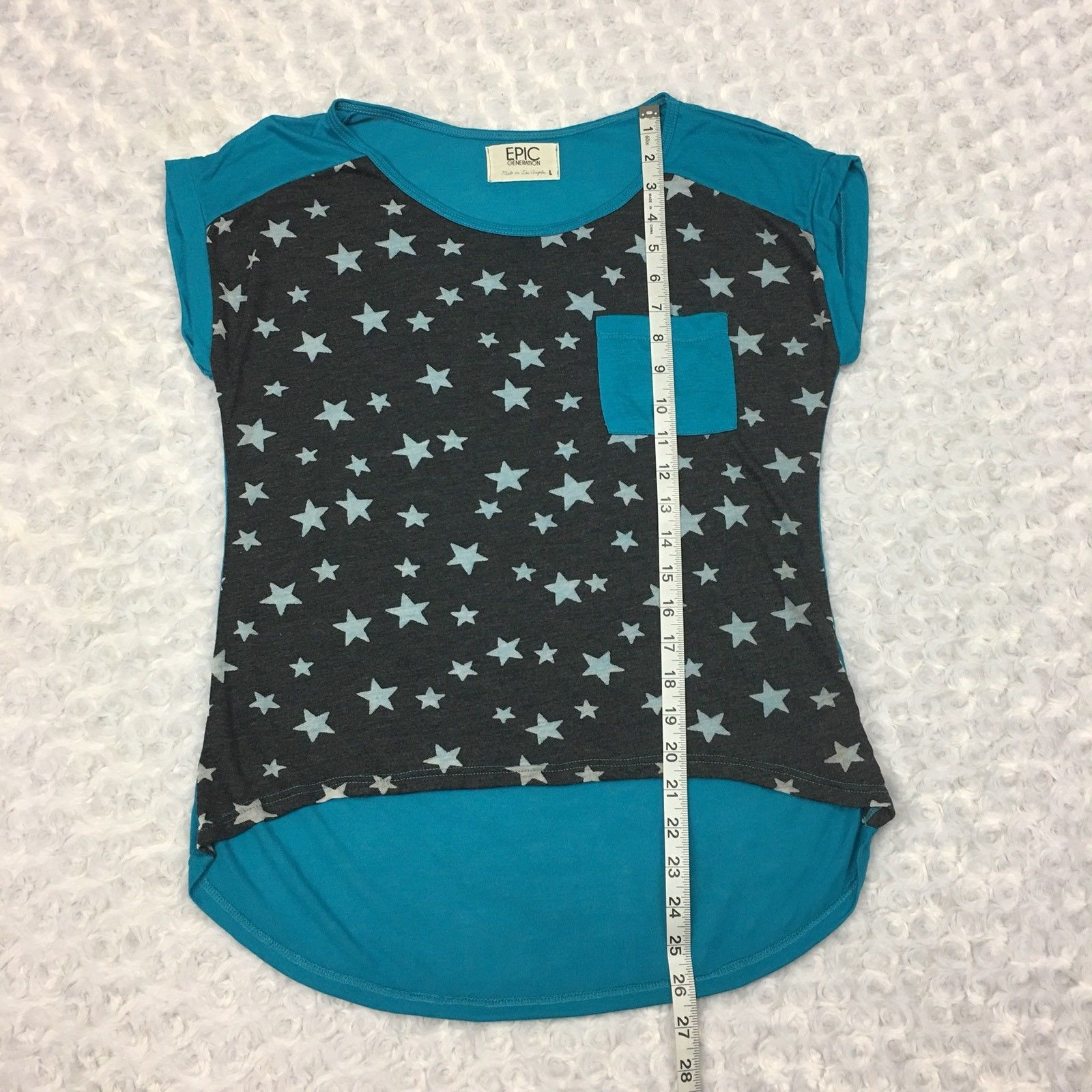 Juniors Thin Cropped Belly Shirt Cap sleeves Teal Gray with White Stars on Front