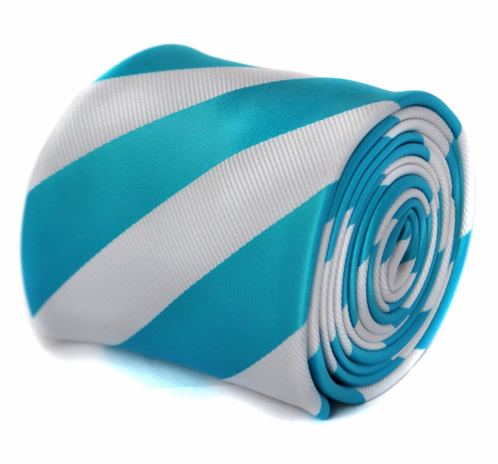 Frederick Thomas Turquoise Blue and White barber striped mens tie FT1873