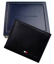 New Tommy Hilfiger Men's Leather Credit Card ID Passcase Wallet Black 31TL22X060