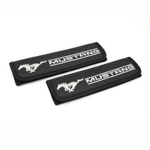 Mustang seat belt covers Leather shoulder pads Interior Accessories with emblem - $35.00