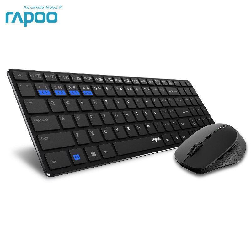 multi mode silent wireless keyboard mouse combo bluetooth switch between 3 devic mice. Black Bedroom Furniture Sets. Home Design Ideas