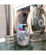Embossed Ceramic Vase Pot with Preserved Flower Arrangement Everlasting ... - $74.95+