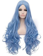 OneUstar Long Wavy Cosplay Wig Blue Heat Resistant Curly Cosplay Hallowe... - $23.44