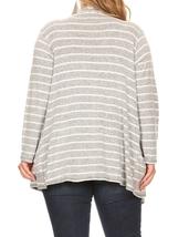 Plus Size Striped Cardigan, Plus Size Cardigans, Gray Striped Cardigan, Womens image 3