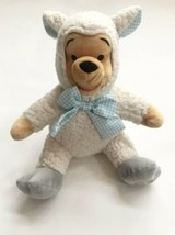 Disney Store Winnie the Pooh Lamb Stuffed Plush Animal Blue Gingham Easter - $19.75