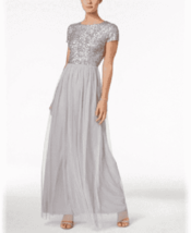 Adrianna Papell Sequined Tulle A-Line Gown 8 # W 75 - $59.39