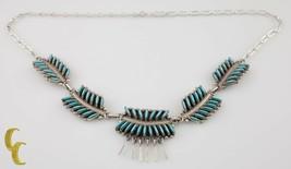 925 Argent Sterling & Turquoise Fleur / Feuille Motif Collier - $295.12