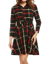 Sexyfree Women Casual Button Down Belted 3/4 Sleeve Lapel A-line Swing D... - $24.54