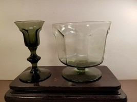 Lenox Crystal Pedestal Bowl Vase w/Matching Candle Stick Smoky - $22.85