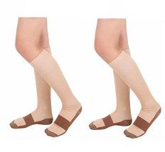 2 Pair Lg/XL Beige/Gold - Bcurb Graduated Compression Socks Below Knee C... - £10.73 GBP