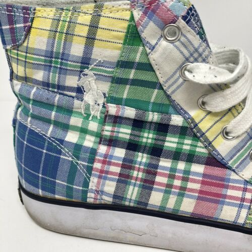 Vtg Polo Ralph Lauren Brisbane Madras 7 Mens Plaid HI-TOPS Lace Up Sneakers