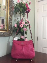 New Coach Crossbody Bag Madison Pebbled Leather 47261 Fuchsia Pink B01 - $94.04