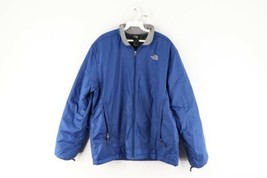 The North Face Mens Size Large Spell Out Insulated Outdoor Hiking Jacket Blue - $59.35