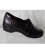 DANSKO BENDABLES BROWN PATENT LEATHER CROC PRINT SLIP ON SHOES WOMENS SI... - $29.69