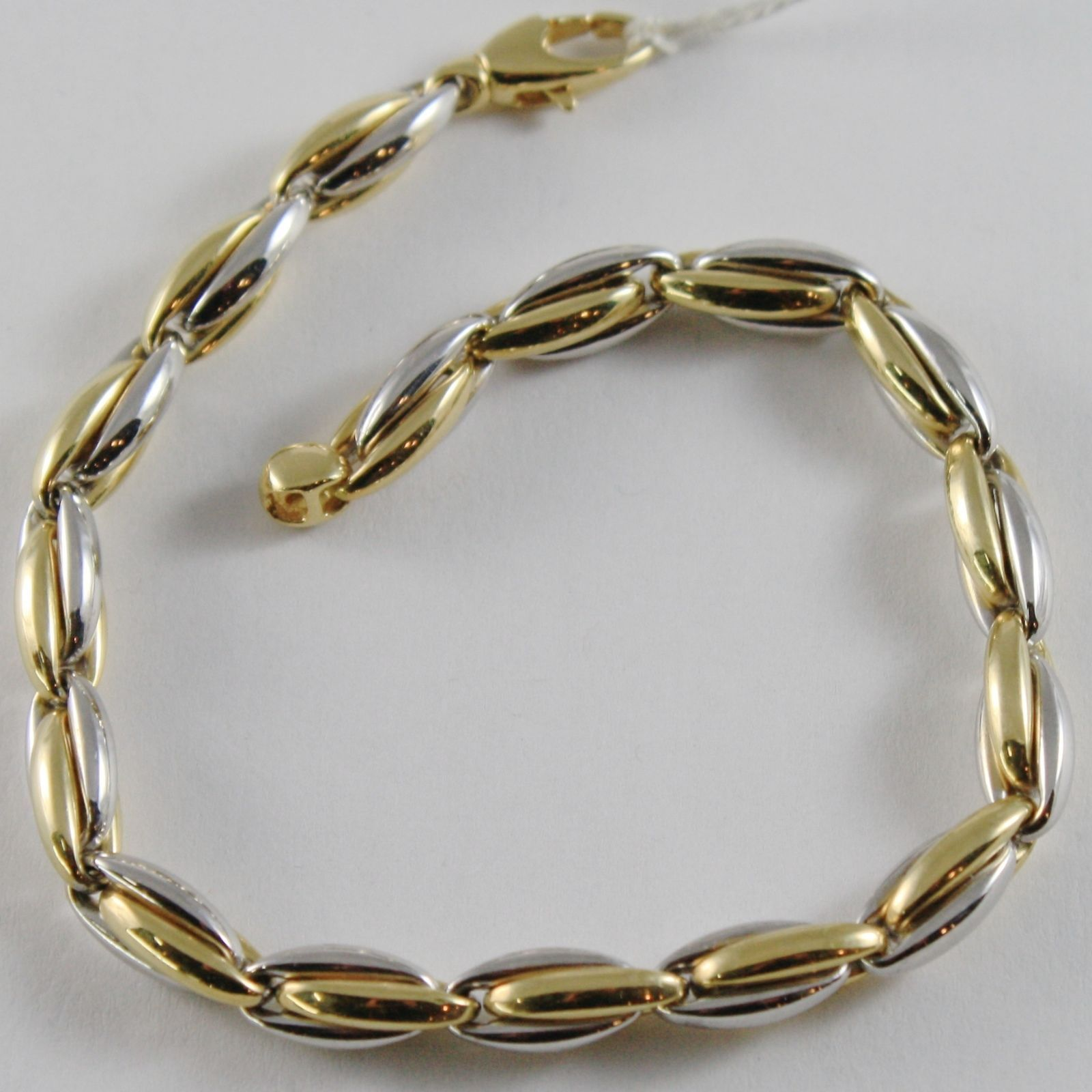 SOLID 18K YELLOW WHITE GOLD BRACELET DOUBLE OVAL ALTERNATE LINK, MADE IN ITALY