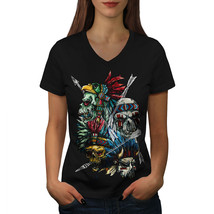 Native American USA Skull Shirt Warrior Art Women V-Neck T-shirt - $12.99+