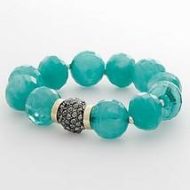 Napier Tri Tone Faceted Aqua Bead Stretch Bracelet Nickel Safe - $18.99