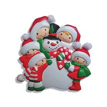 "Kurt Adler 4.25"" Resin Family OF Five Making Snowman Ornament - $15.00"