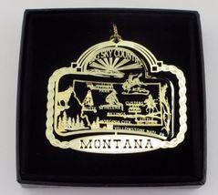 Montana State Landmarks Brass Ornament Black Leatherette Gift Box - $16.95