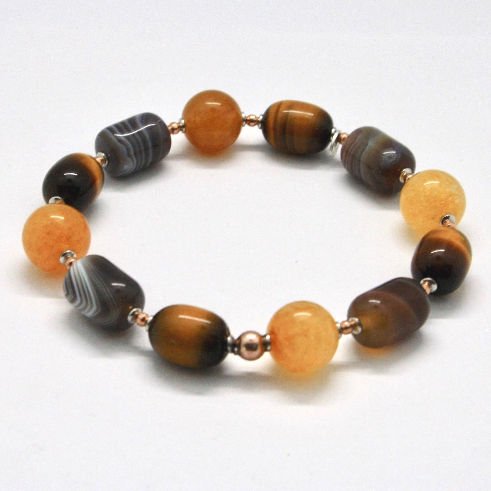 SILVER 925 BRACELET LAMINATED ROSE GOLD WITH TIGER'S EYE GIADA CHALCEDONY