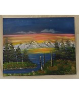 Oil Painting Artist Michael Blanchard Mountain Sunset Lake Landscape 20i... - $48.93