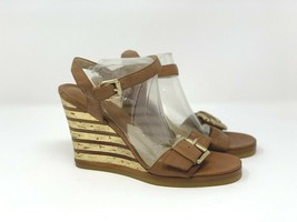 Michael Michael Kors Womens Brown Leather Wedge Sandals 8.5 Gold Striped Heels - $29.69