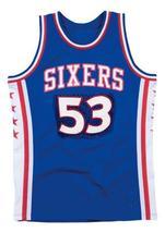 Darryl Dawkins #53 Philadelphia Basketball Jersey Sewn Blue Any Size - $34.99