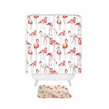 Miracille Pink Flamingo Printed Bathroom Sets Shower Curtain and Slide-proof Rug - $37.35
