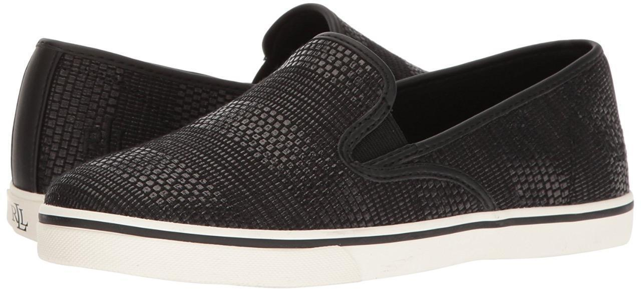 Ralph Lauren Women's Premium Janis Slip-On Athletic Fashion Sneakers Shoes Black