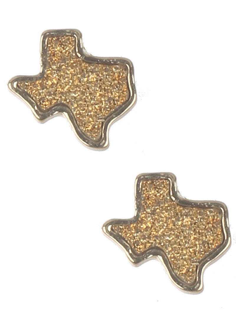 Glitter Bling Texas Pride State Post Earrings Topaz Color