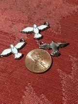 White Epoxy Enameled Dove Charm 14mm L x 16mm W x 2mm D image 3