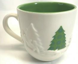 2006 Starbucks Holiday Green 3D Embossed Christmas Trees Sled Coffee Mug... - $19.79