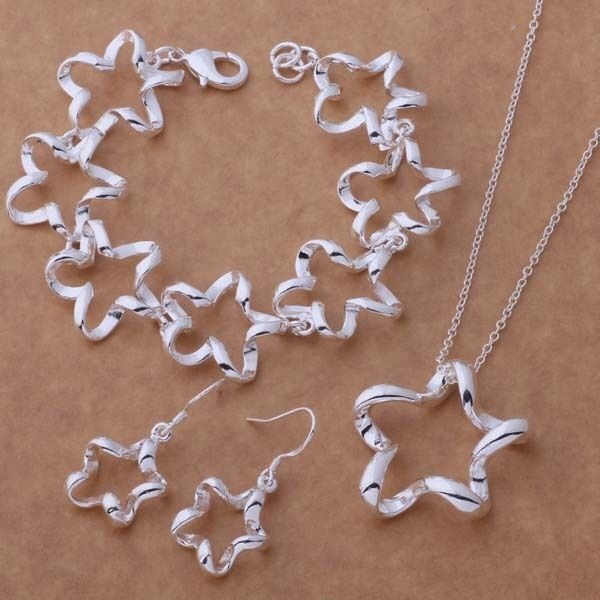 Primary image for Liquid Star Necklace Bracelet and Earrings Set 925 Sterling Silver NEW